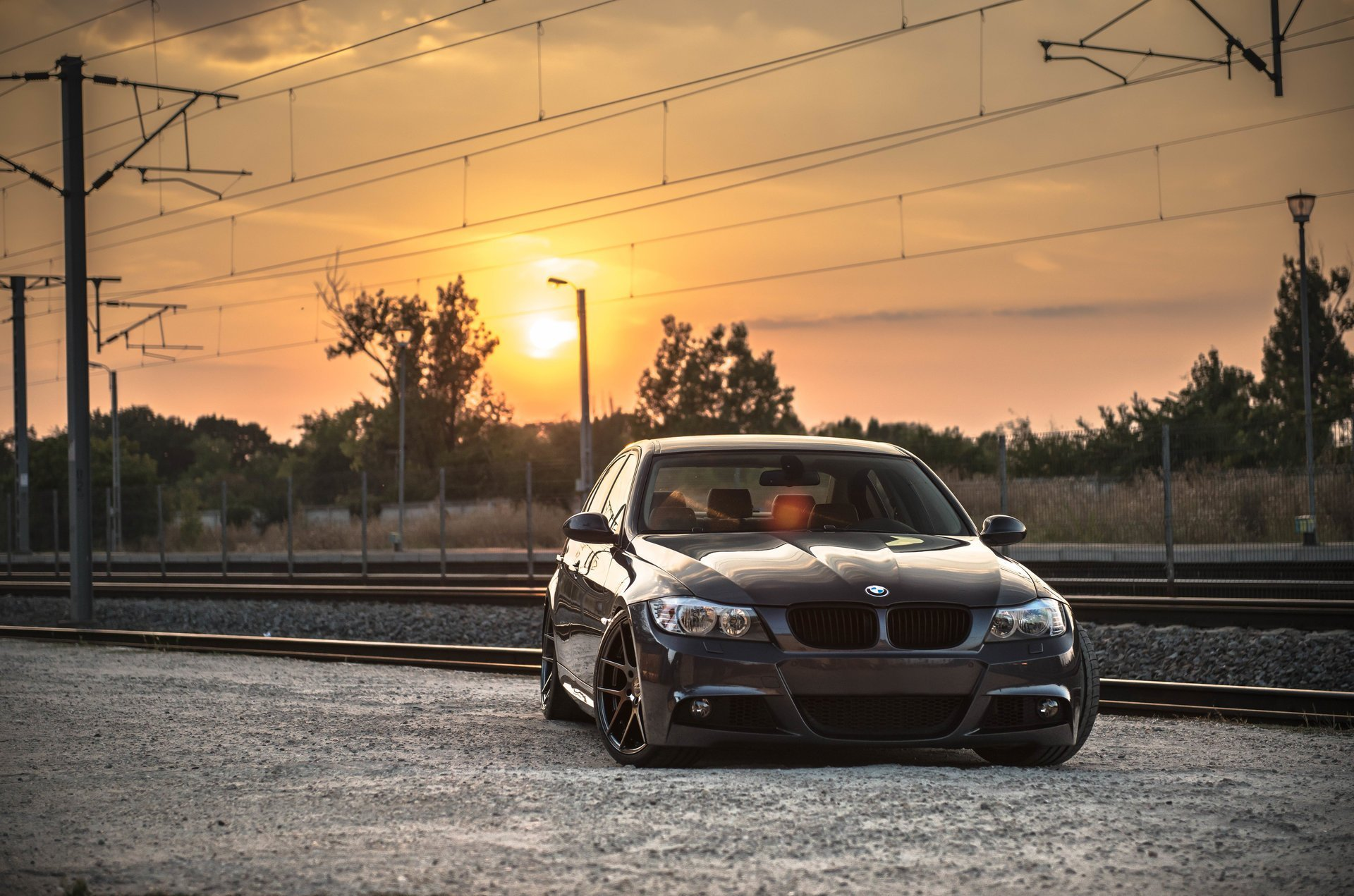 bmw-e90-deep-concave-bmw-tuning-drives-sunset-railroad